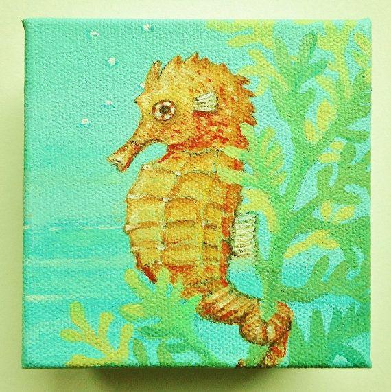 Seahorse Painting Mini Canvas Coastal Wall Decor Original Art Signed ...