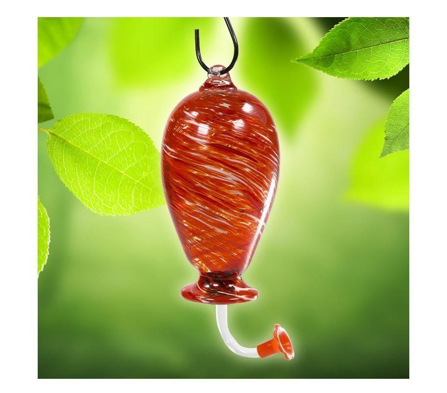 Glass Hummingbird Feeder Red Swirl Hand Blown Tree Hanging