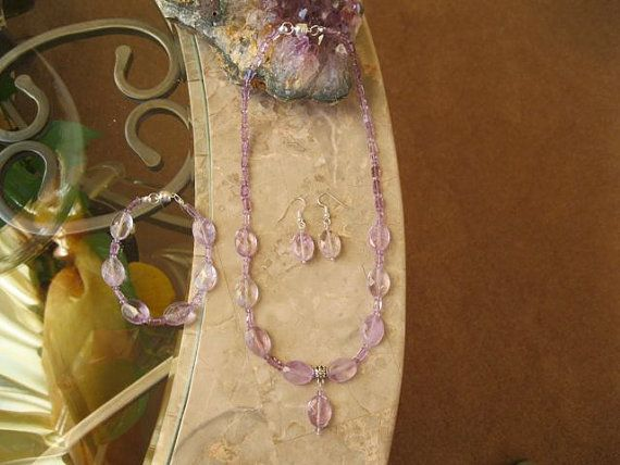Amethyst gem stone pendant with matching bracelet by MDJewelCraft