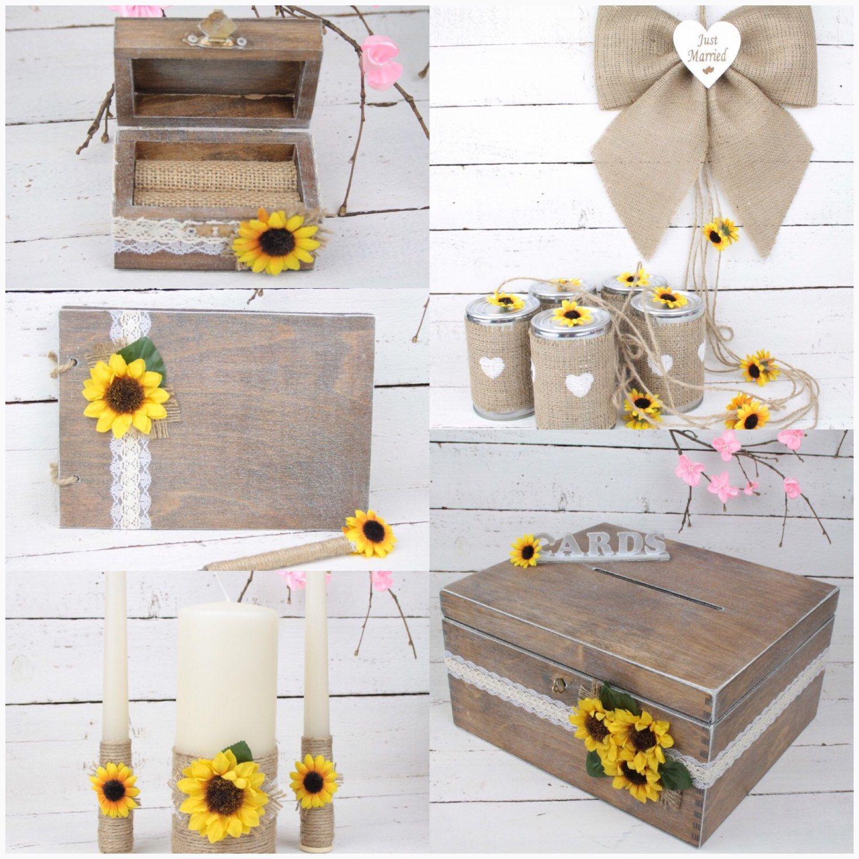 Sunflowers themed Wedding Ring Bearer Box, Tin Can Wedding