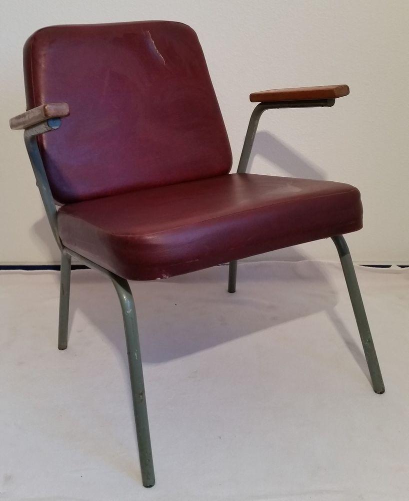 Details zu Sessel Stahlrohr Kunstleder 1950er 1960er Industriedesign ...