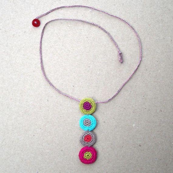 Dotti Crochet Polka Dot Pendant Handmade crocheted jewelry by gitte on Etsy…