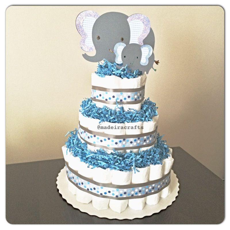 Elephant Theme Baby Shower Decor Diaper Cake By
