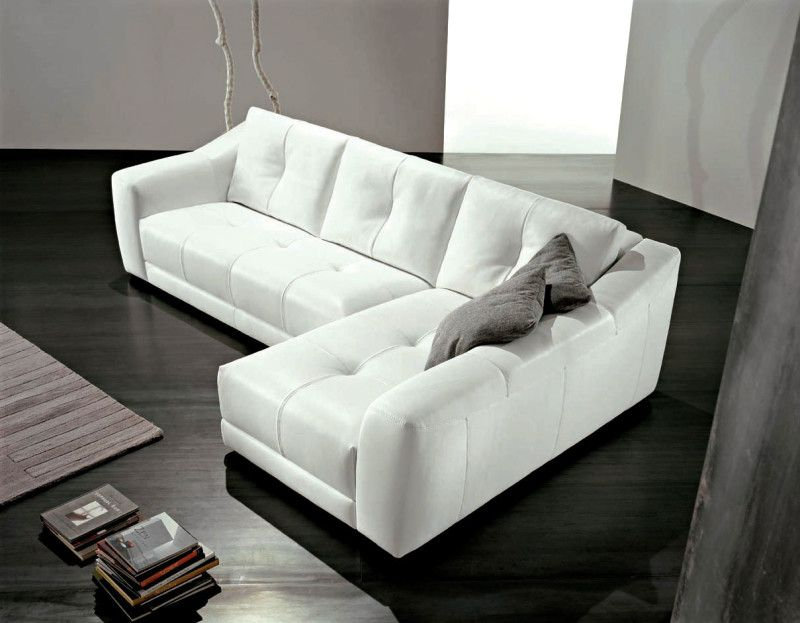 Sweet L Shaped White Leather Sofa Design