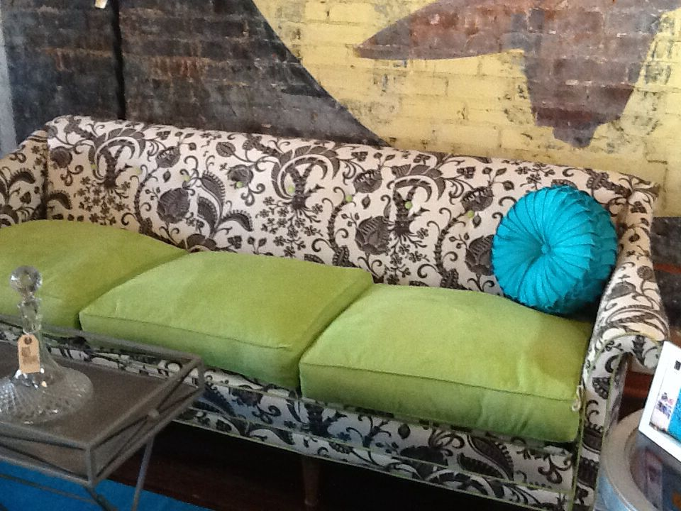 Sassy sofa at The Owl now. Take a drive out to Elgin, Texas and take a test nap.