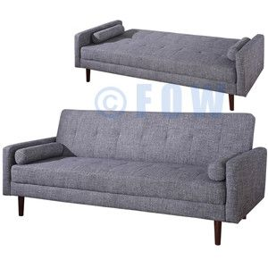 Kato Mid Century Modern Sofa Bed In Gray Fabric | FOW