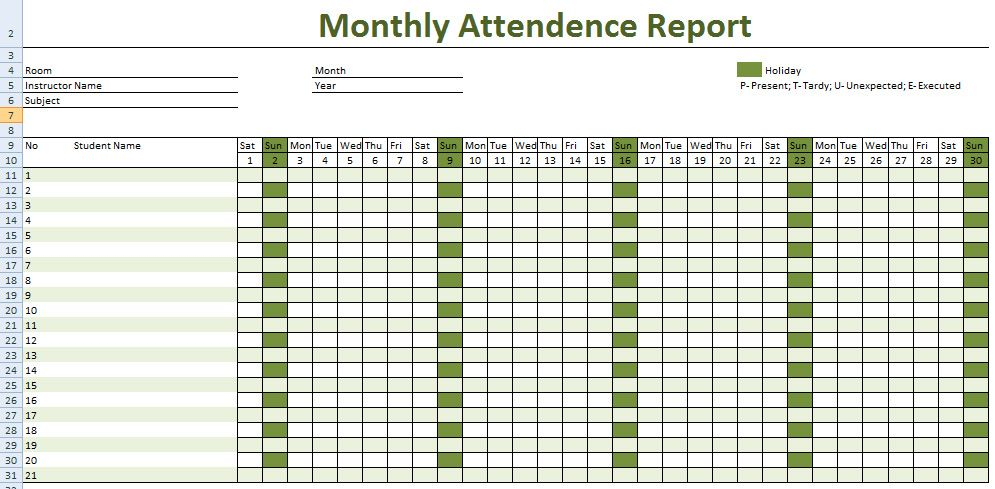 How To Keep Record Of Employee Attendance Microsoft Excel Template