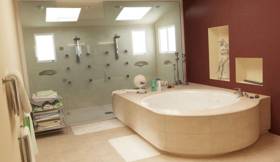 Luxe en moderne badkamer! Beige tegels met een natuursteenlook ...