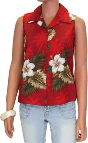 c07a3d8e7007 $35.95 Women's Hawaiian shirt. Beautiful red floral print with hibiscus  flowers.