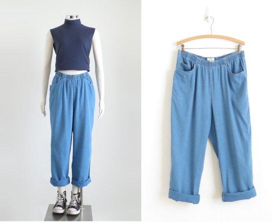 High Waisted Baggy Jeans, Womens Elastic Waist Rayon Jeans