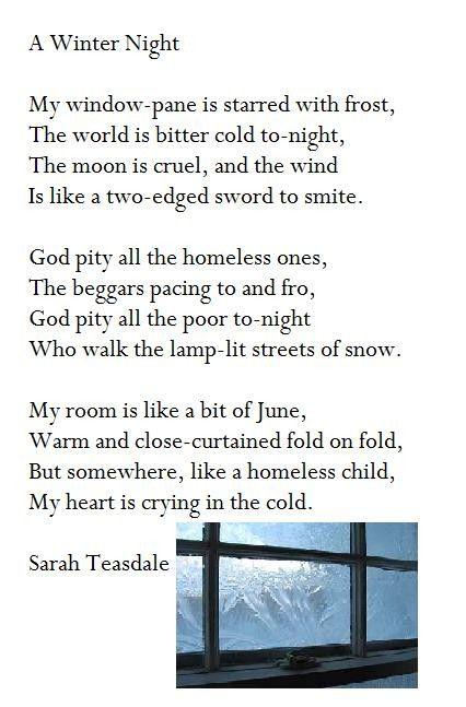 A Winter Night Sarah Teasdale Words Gedichte