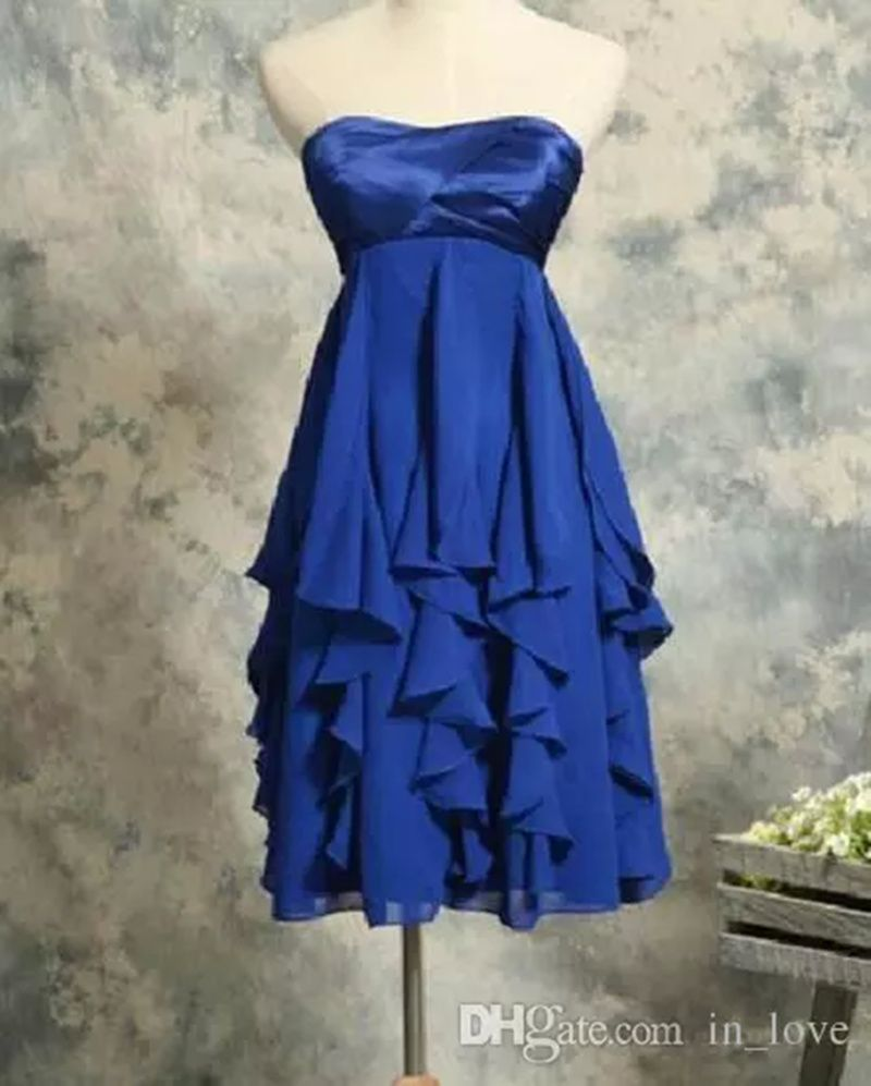 Click to buy ucuc new short blue bridesmaid dresses strapless ruffles