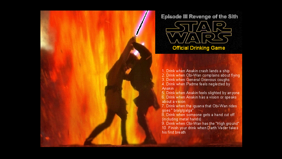 Star Wars Episode Iii Revenge Of The Sith Official Drinking Game Drinking Games Drinks Revenge