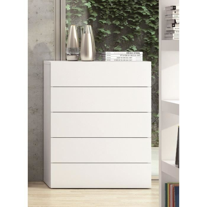 commode blanc laque | AURORA Commode TemaHome 5 tiroirs laquée ...