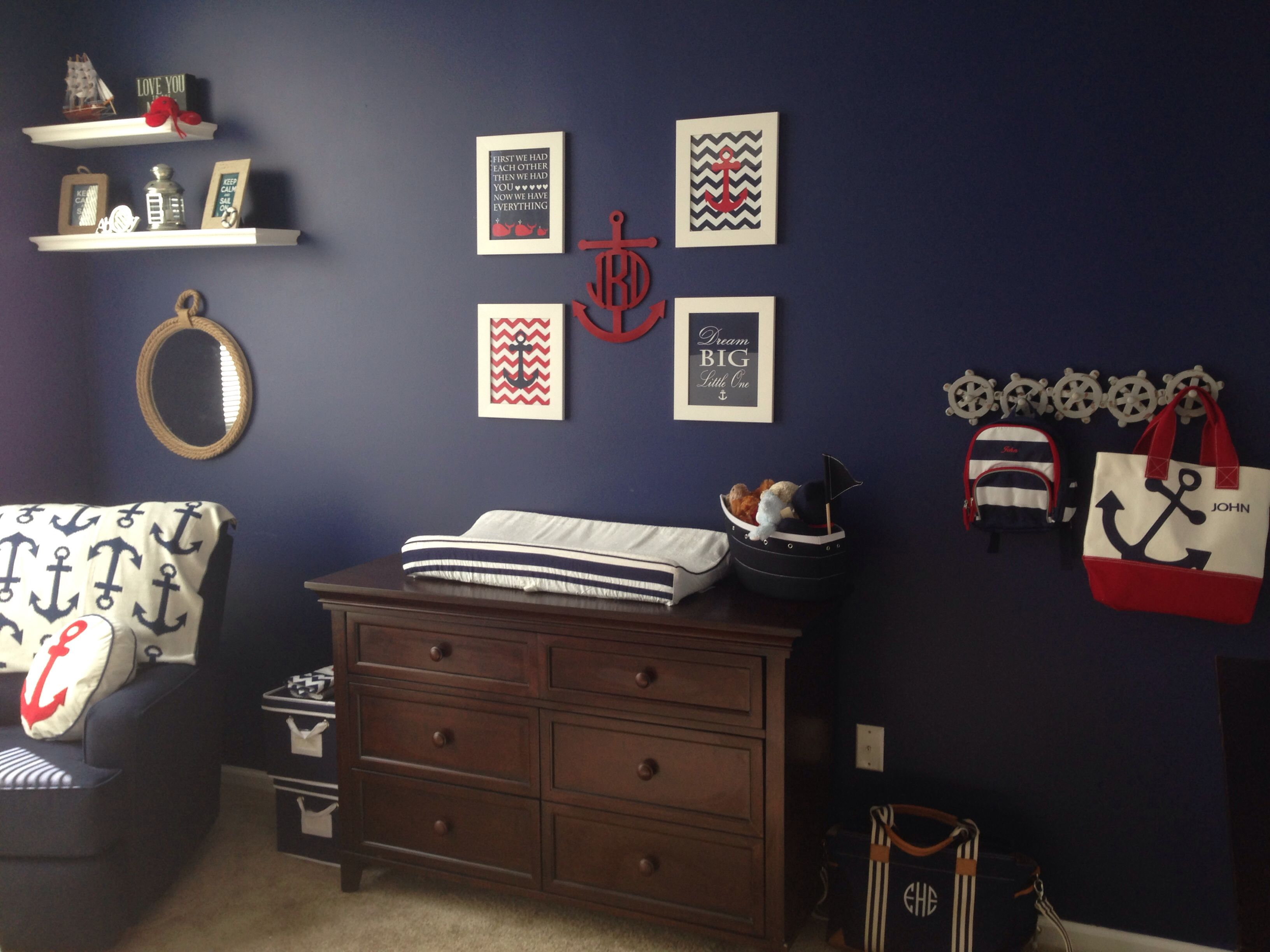 My Baby Boys Nautical Nursery Furniture Is From Babiesrus Decor A Mix Pottery Barn Home Goods And Target