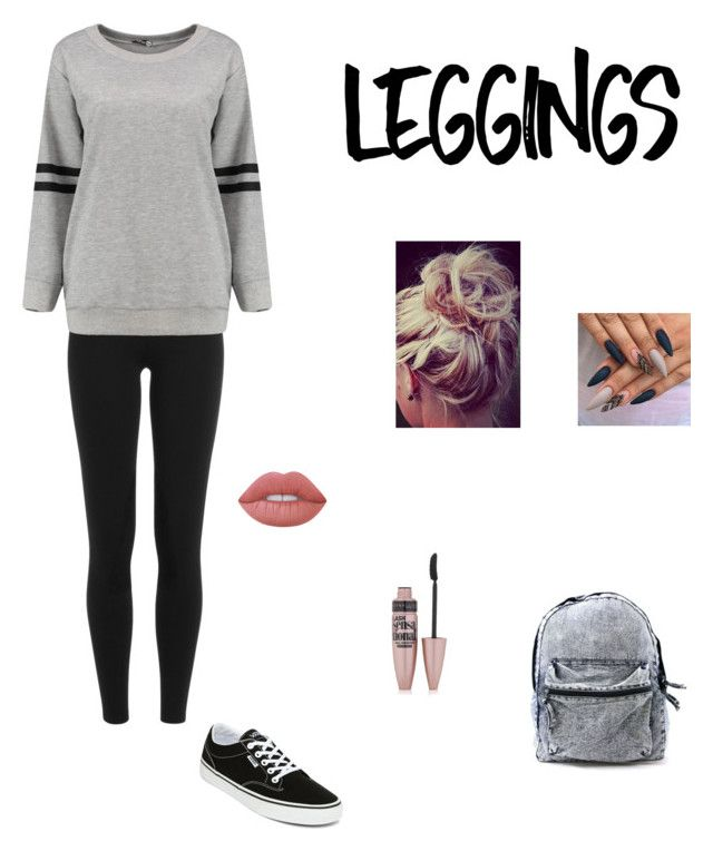 """Leggings;)"" by jazzyjazz0213 ❤ liked on Polyvore featuring Polo Ralph Lauren, Vans, Lime Crime, Maybelline, Leggings and WardrobeStaples"