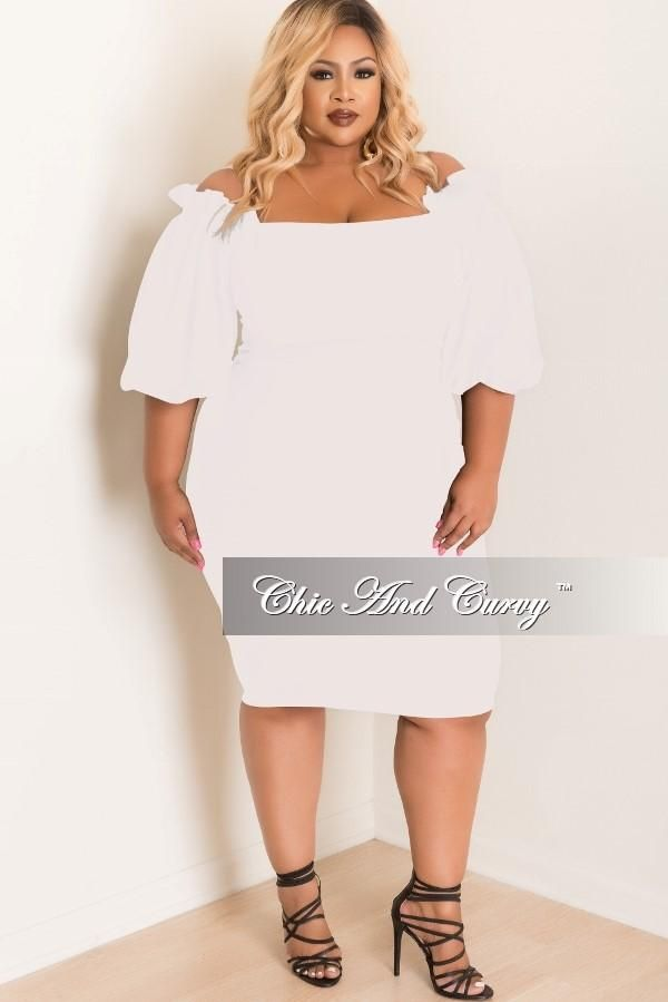 Plus Size Bodycon Off The Shoulder Ruffle Dress In Off White Chic