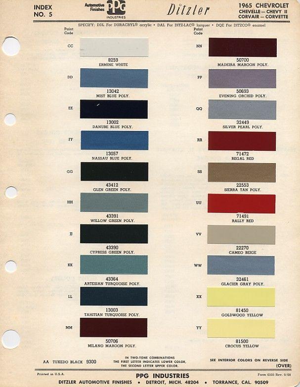 Auto Paint Codes 1965 Color Codes El Camino Central Forum