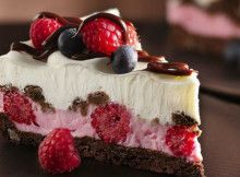 Piece of cake with raspberries