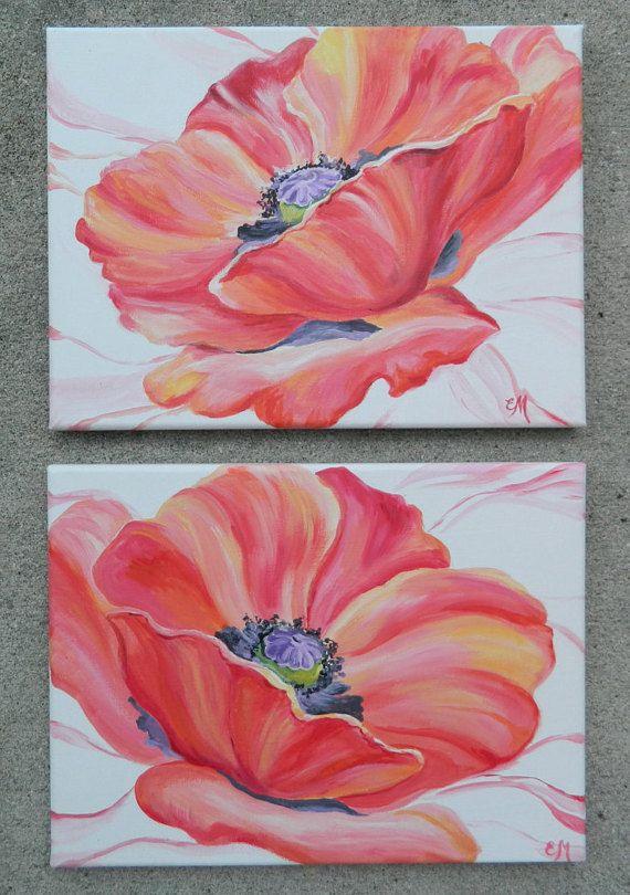 Original Poppies Painting Red Flower Poppy Wall Art Gift For Her Custom Fl