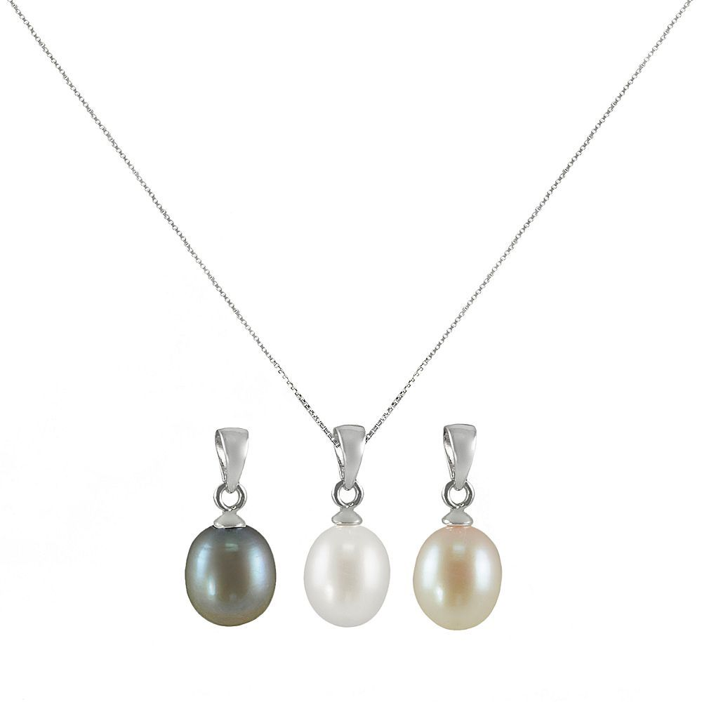 Kohlus sterling silver dyed freshwater cultured pearl pendant set