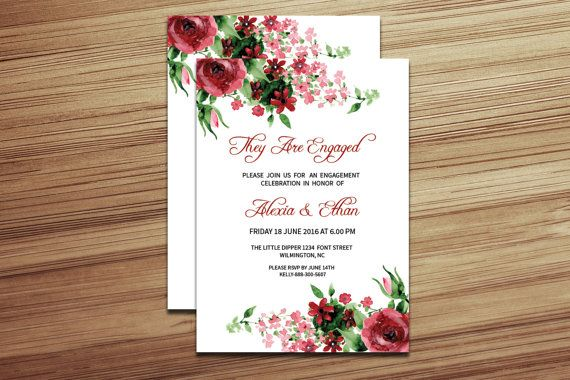 DIY Engagement Party Invitation Template by WeddingTemplateStock