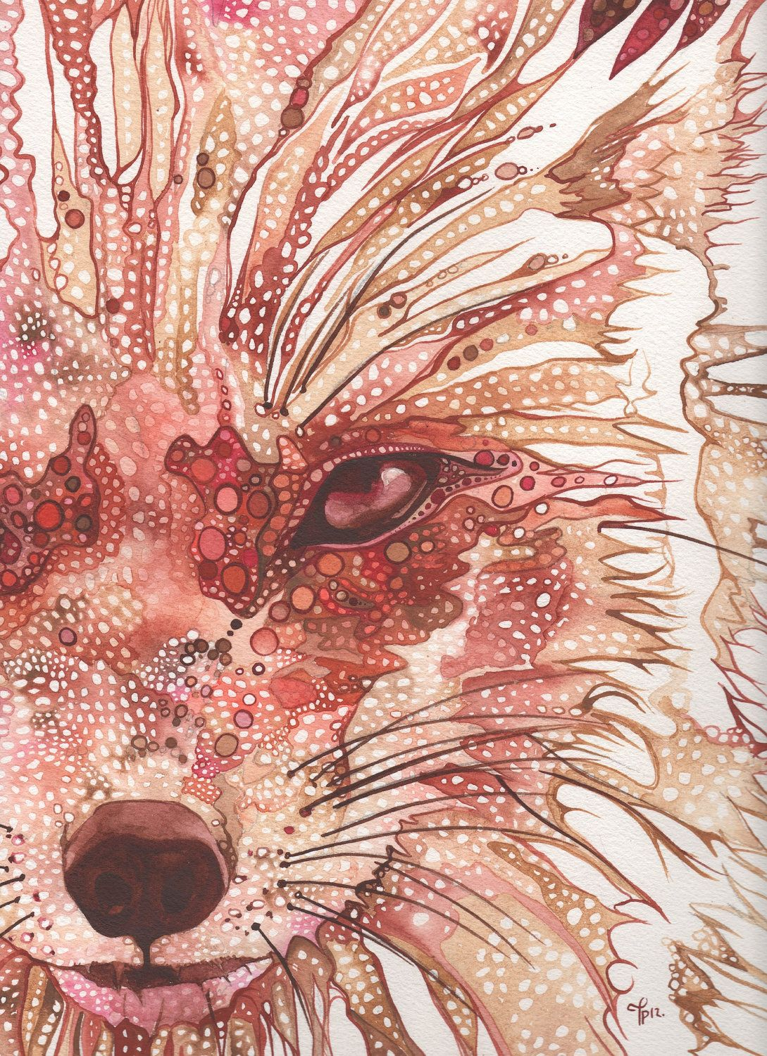 Rust Fox 4 X 6 Print Of Hand Painted Detailed Watercolour Artwork In Deep Rich Surreal And Psychedelic Orange Red Salmon Pink Earth Tones 5 00 Via Etsy