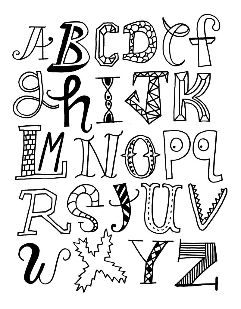Cool Easy Fonts To Draw By Hand Alphabet Hand Lettering