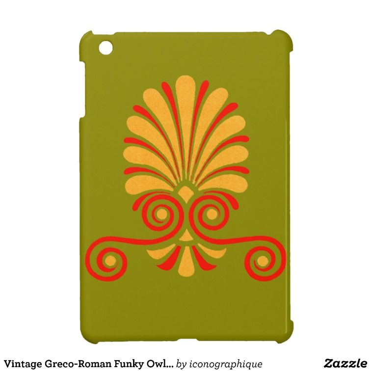 Vintage Greco-Roman Funky Owl Graphic Design Cover For The iPad Mini #vintage #owl #graphic #icon
