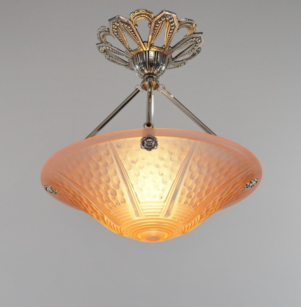 Muller Freres Petitot French 1930 Art Deco Chandelier Lamp Ceiling Fixture