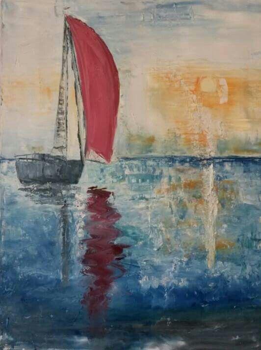 """Red sails in the sunset"" Olieverf op linnen. Met paletmes. 80x60x2 cm Artieste Hetty Dalm Te koop"