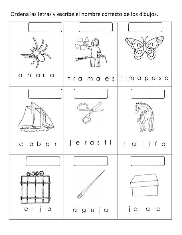 Ordena Las Letras Y Escribe El Nombre Correcto De Los Dibujos A ñ