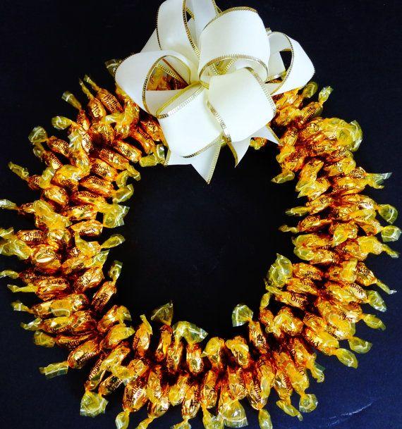 Candy Wreath Unique Gift Caramel Hard Candies Edible Decoration Grandparent Present Gold Centerpiece