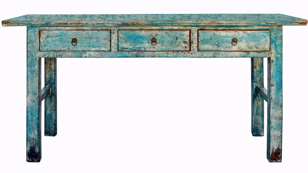 Chinese Distressed Blue 3 Drawers Sideboard Console Altar Table Cs1993s Diy Sofa Table Antique Chinese Furniture Distressed Sofa Table