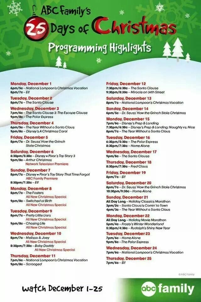 abc familys 25 days of christmas i love christmas movies every year my family makes the most of this time of year to sit down and watch many of our - Abc 25 Days Of Christmas Schedule 2014