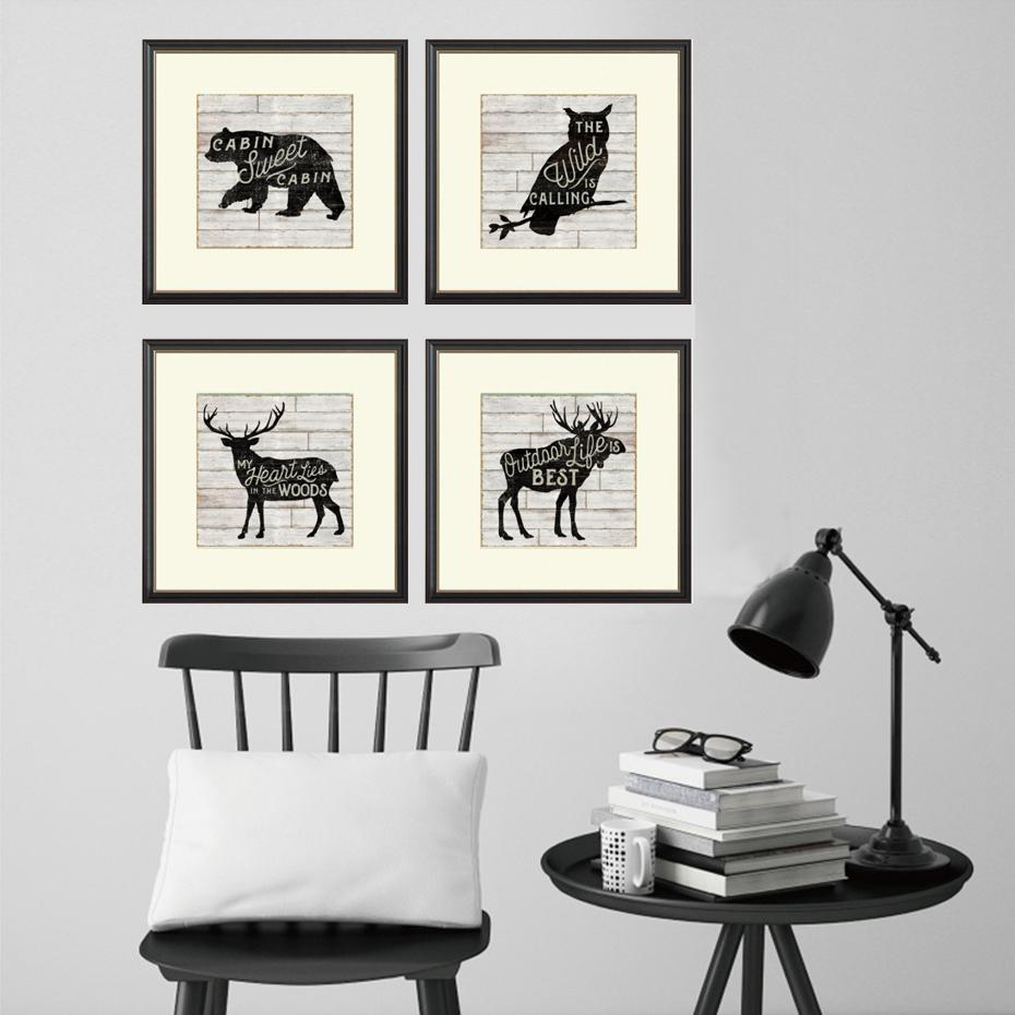 Wild Animals Nordic Canvas Painting Deer Posters and Prints Wall Art ...