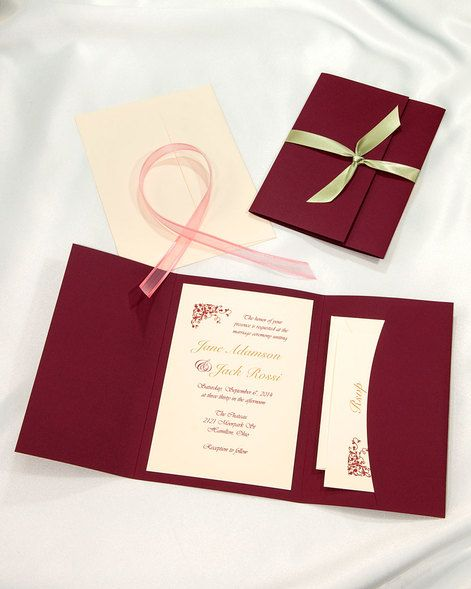 Burgundy Pocket folder wedding invitations Burgundy printable