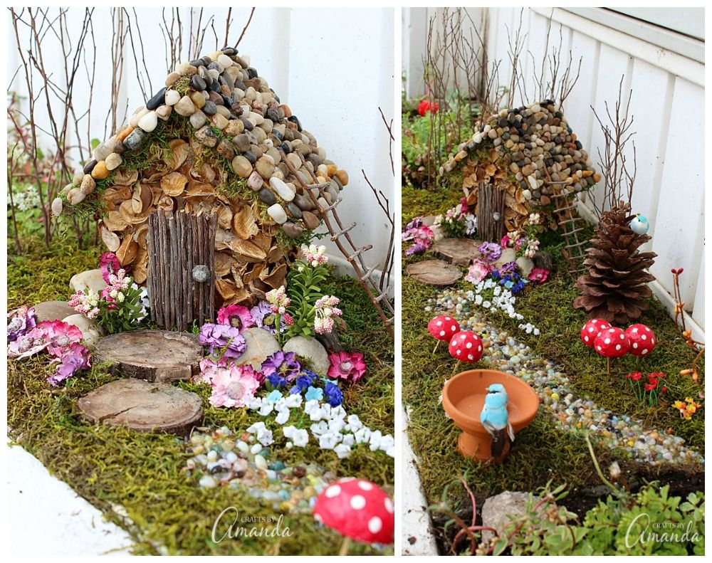 Perfect Turn An Ordinary $1.00 Wooden Birdhouse Into An Adorable Fairy House  Nestled In A Moss Covered