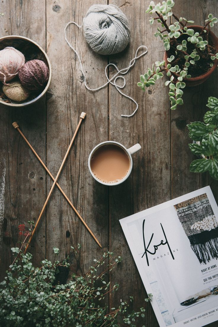Flatlay Inspiration for instagram · via Custom Scene · Wool with knitting needles and greenery on rustic wooden background. Koel