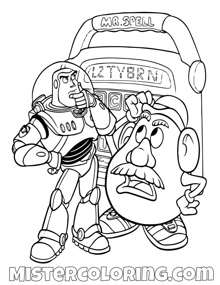 Toy Story Coloring Page For Kids Mister Coloring Toy Story Coloring Pages Disney Coloring Pages Coloring Pages