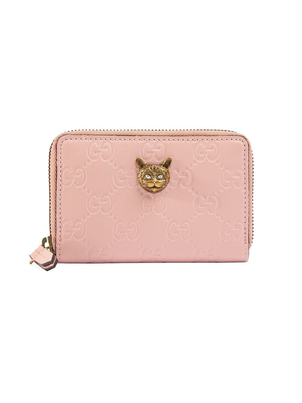 new styles 937fe 44c51 Gucci Gucci Signature card case with cat - Pink in 2019   Products ...