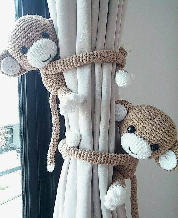 Photo of Scimmia tenda cravatta indietro, cotone filato uncinetto scimmia, amigurumi.