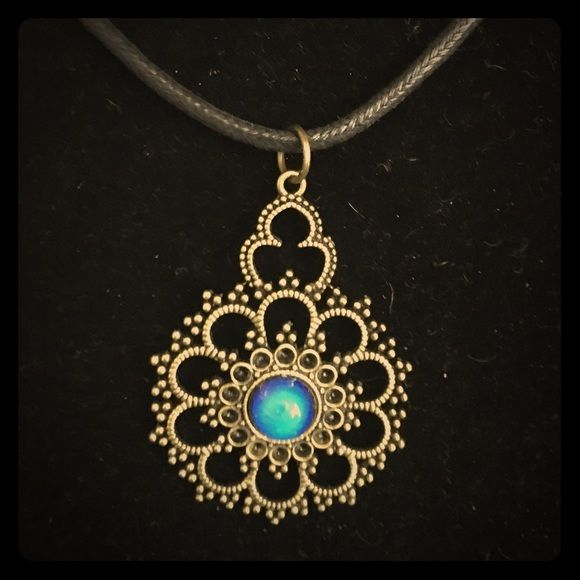 Antique Brass and mood Stone Pendant On black leather Jewelry Necklaces