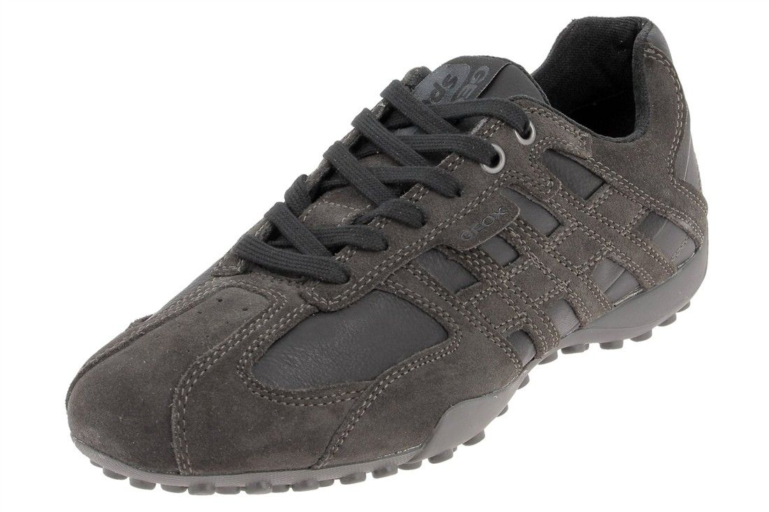 Geox Uomo Snake, Baskets mode homme - Noir (Black/Mud), 45 EU