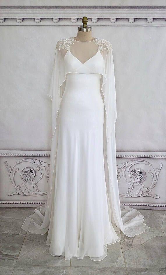 Bridal Cape Hand Beaded Silk Georgette