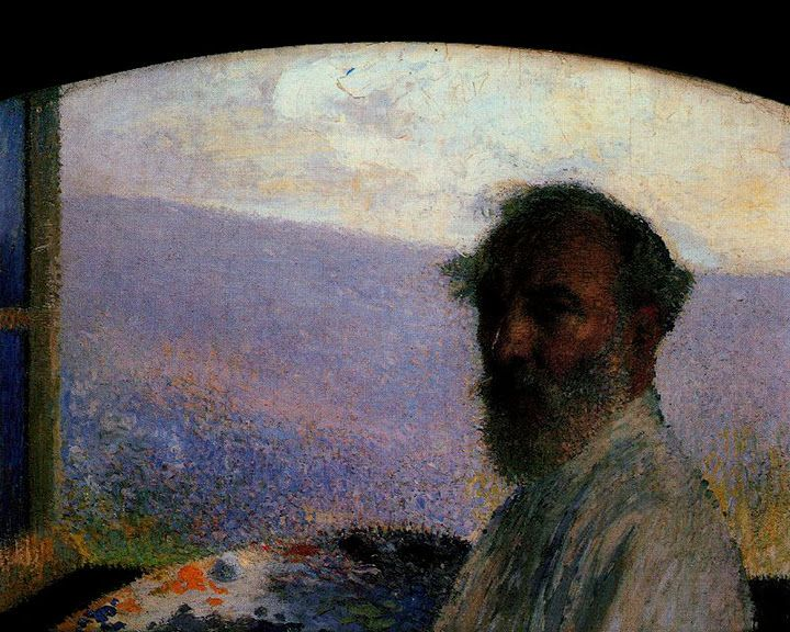 Henri Martin, self-portrait.  Another very dark face.  Beautiful.