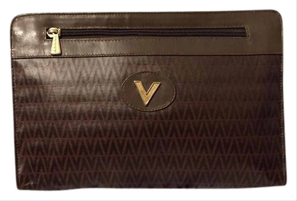 Valentino Vintage Brown Coated Canvas Leather Clutch In 2020 Canvas Leather Leather Clutch Valentino
