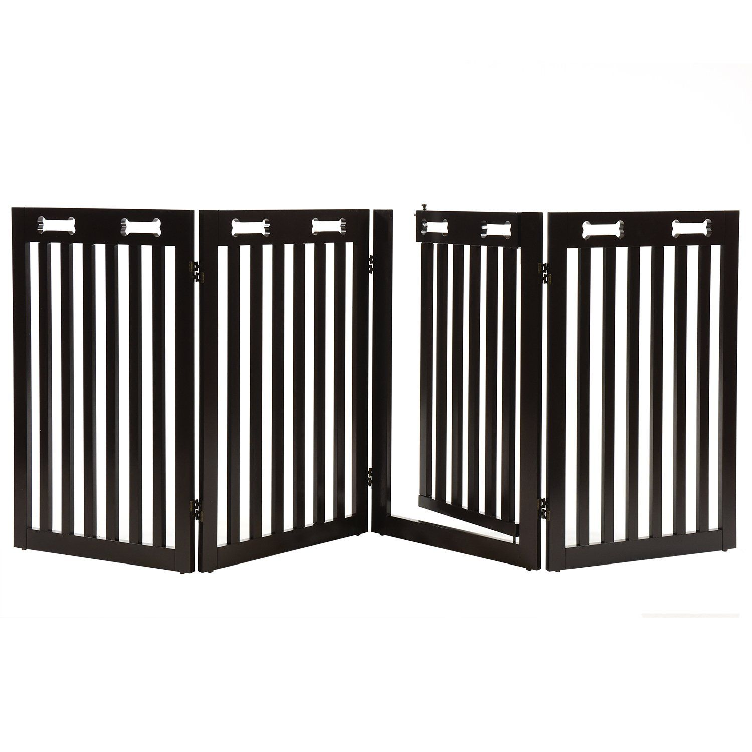 Arf pets free standing wood dog gate with walk through