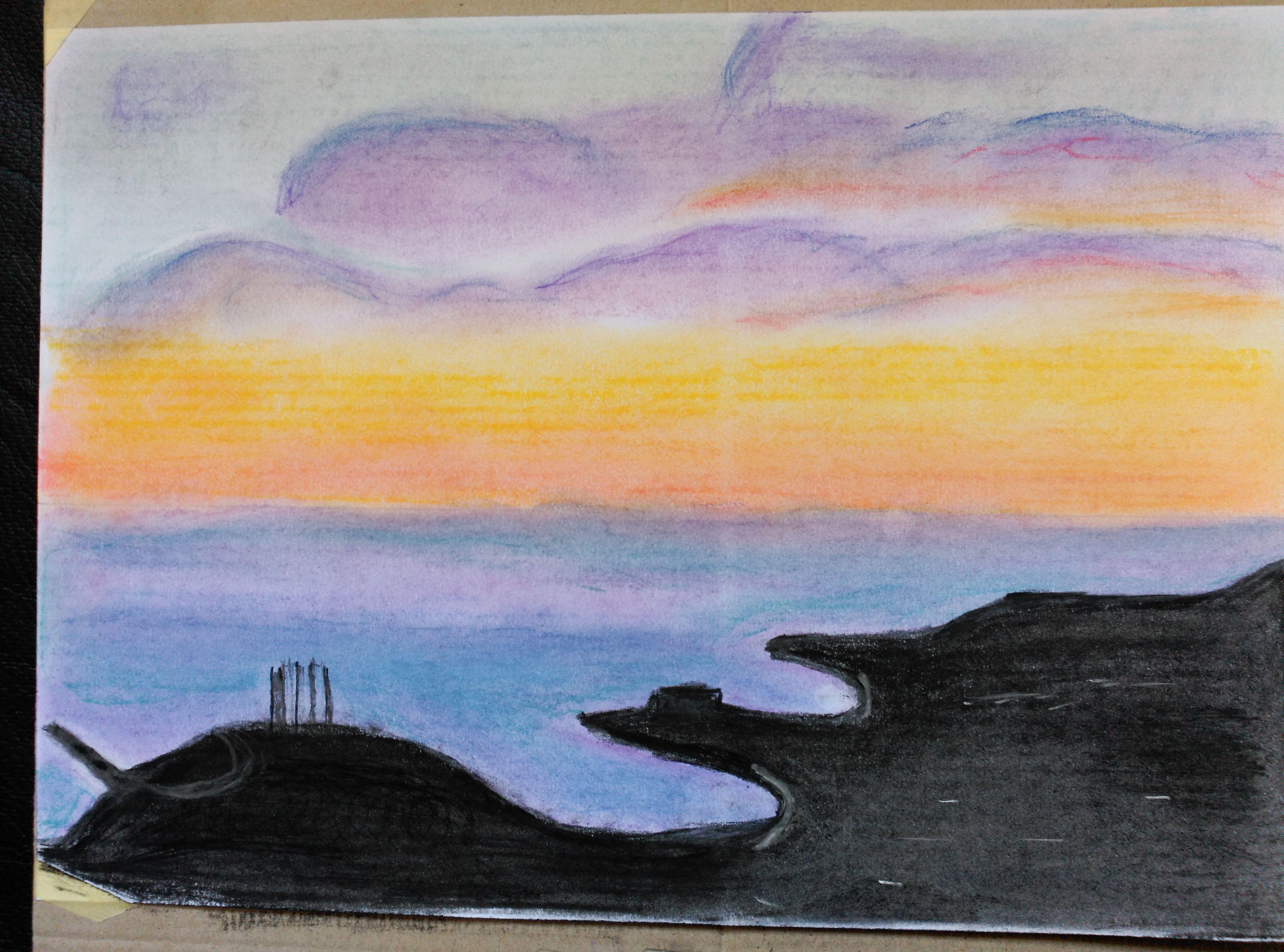 Atardecer En La Ciudad Dibujo Con Colores Pastel Dibujos De Colores Dibujos Con Colores Pastel Ciudad Dibujo