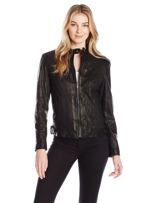 Cole Haan Women's Signature Leather Moto Jacket, Black